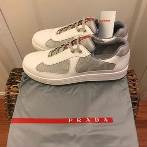 NEW Prada Nevada Bike Leather & Mesh Sneakers